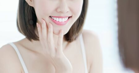 close up of beauty woman tooth with smile Banque d'images - 129292265