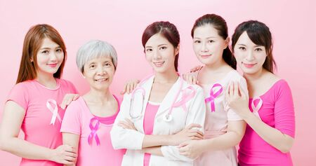 Women with breast cancer prevention and show fist on the pink