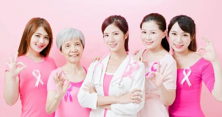Doctor and women with breast cancer prevention show ok on the pink