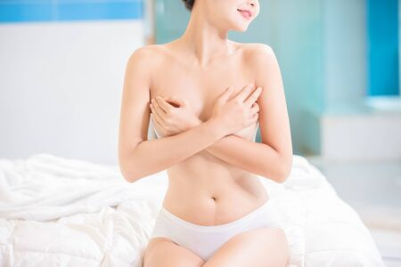 Close up of Sexy asian woman breast and body
