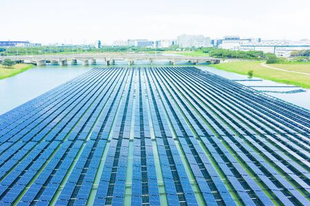 floating solar panels and cell Platform on the water shot by drone