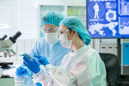 l'équipe de recherche en biotechnologie asiatique regarde une boîte de Pétri et rencontre des vêtements de salle blanche dans l'usine Banque d'images