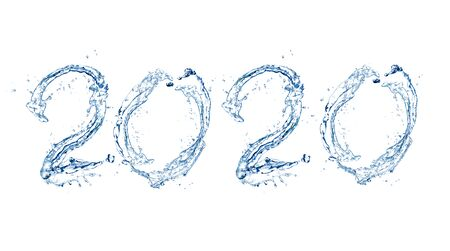 Happy New Year 2020 by Pure splash of water isolated on white background