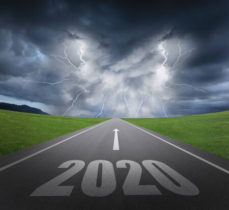 danger to 2020 new year concept with rainstorm clouds and lightning Reklamní fotografie
