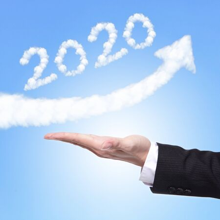 hand of Business man holding happy new year 2020