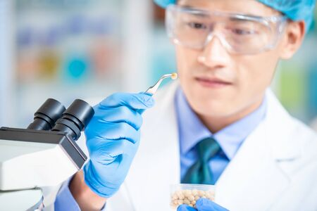 close up of asian scientist team has researching about soybean in the laboratory