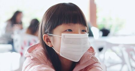 children with protective mask because of transmissible infectious diseases indoor in the crowd
