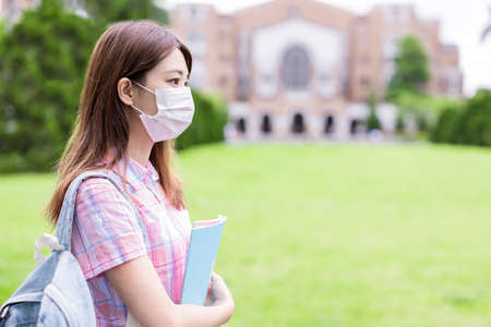 College student wear face mask on campus