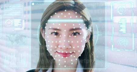 Facial recognition technology concept-slow motion of asian business woman smile to you