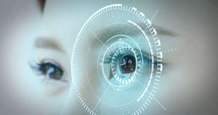 Woman eye with futuristic vision system-Concept of control and security in the accesses technology