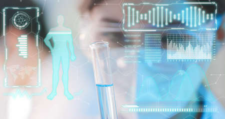 Biochemistry Technology Concept-scientist use test tube filling with liquid in the laboratory Banque d'images