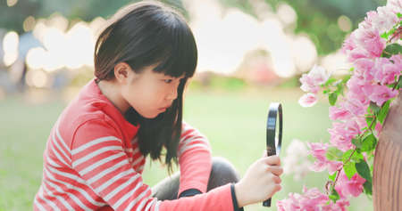 Asian girl use magnifer to observe plant with curiosity
