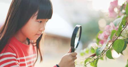 Asian girl hold magnifer and observe leaf carefully