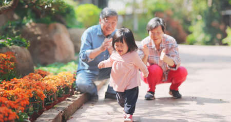 Authentic shot of asian senior couple are playing with their granddaughter-the little girl is running happily