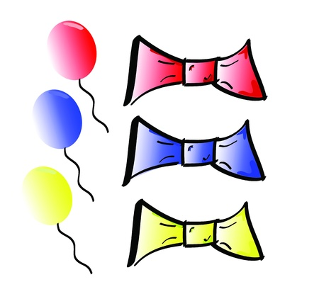 Different Coloured Bow Ties and Balloons Stock Vector - 13691584