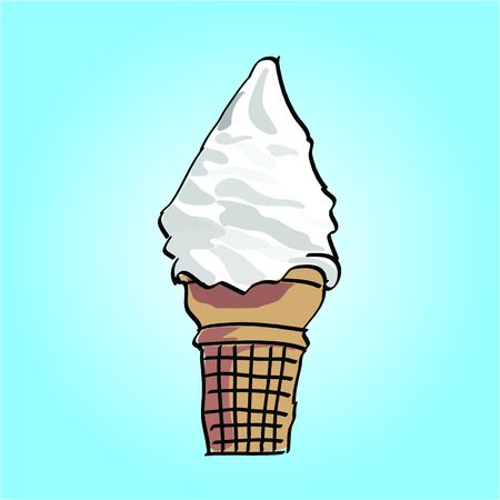 Hand Drawn Ice Cream Cone Illustration Vector