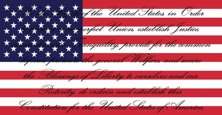 Bandera americana con EE.UU. Constitución de los EE.UU.