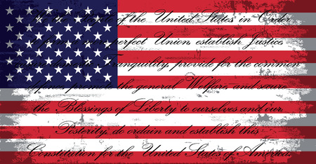 USA American Flag Grunge Distressed with US Constitution  イラスト・ベクター素材
