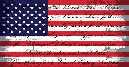 USA Drapeau américain Grunge Distressed avec US Constitution