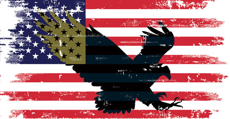 USA Flag distressed  with Golden Eagle Illustration