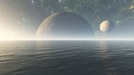 3D Illustration of  alien planet ocean in space with nebula and stars. Alien planet sea in space, Surface of alien planet in space, planet with a moon in horizon well visible.