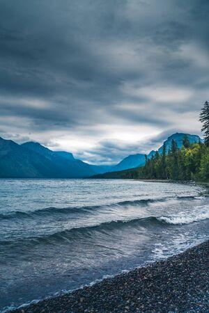 Lake McDonald on an overcast day. Stock Photo