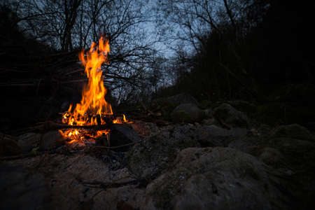 Camp in the open air with fire