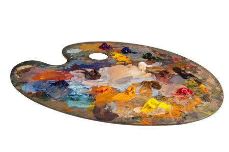 oil color: Artists palette Stock Photo