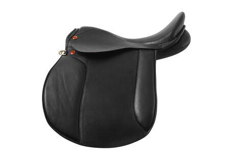 saddle: Black leather saddle Stock Photo