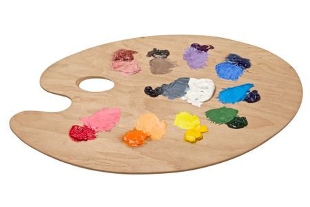Artist s palette with basic colours photo