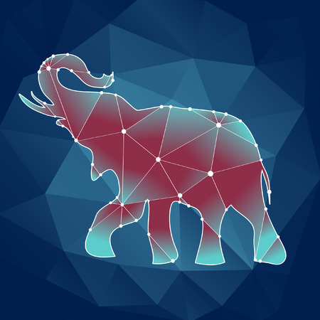 nature one painted: polygonal contour elephant on a blue background