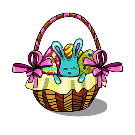merrily: easter bunny sitting in a basket with Easter eggs Illustration