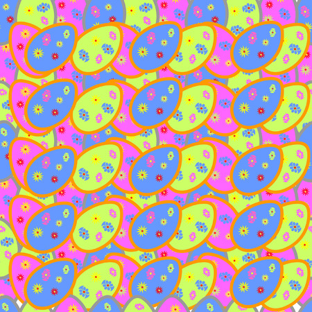 vector seamless pattern with multi-colored Easter eggs Vector