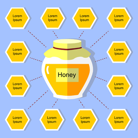 cell and the jar with honey on a blue background Vector