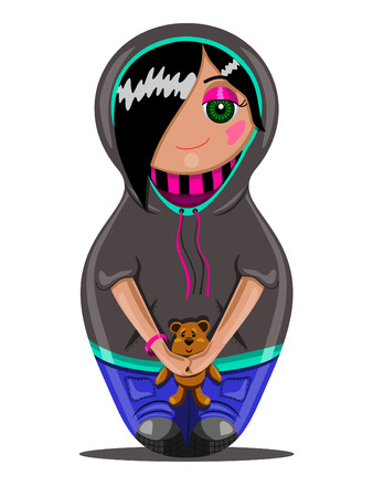 Emo teen girl made in the style of Russian dolls Vector