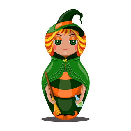 Nested doll in a suit of the witch a Halloween in a green raincoat with a sweeper and a potion in hands Vector