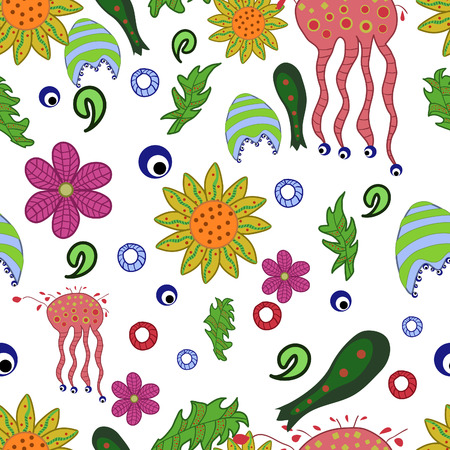 seamless pattern with fantastic flowers and leaves Vector