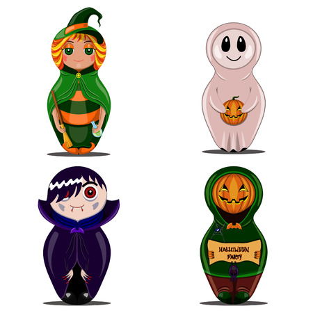 Halloween set with witch dolls, vampire, pumpkin and ghost Vector