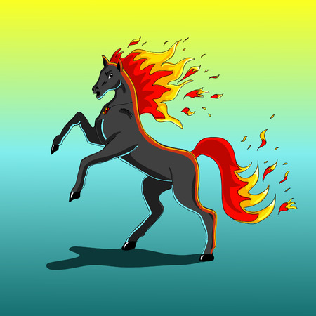 A horse with a fiery mane and fiery tail Vector
