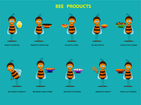 variety of bee products presented in the form of animation Illustration