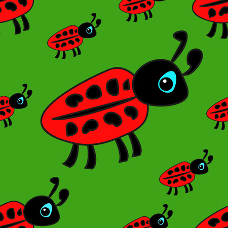lady cow: seamless pattern with childrens drawings ladybug on a green background