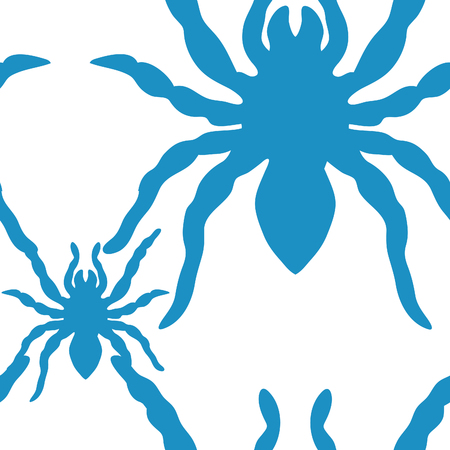 seamless pattern with blue tarantula silhouette on a white background Vector