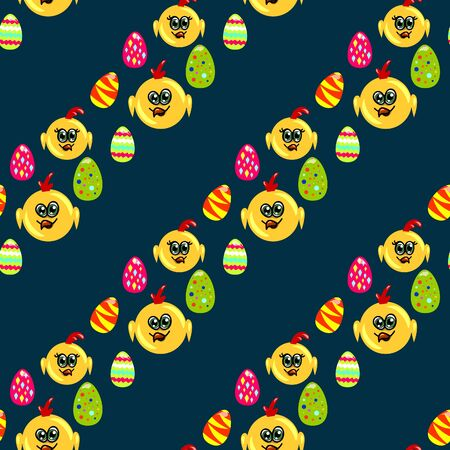 darck: Easter seamless pattern with eggs and chicks on the darck background