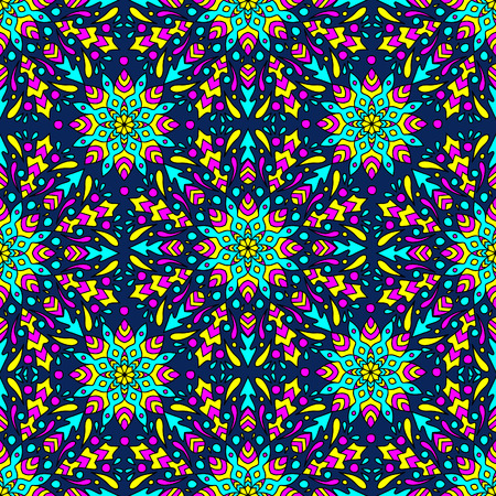 seamless pattern with colorful circular ornament on dark bacground
