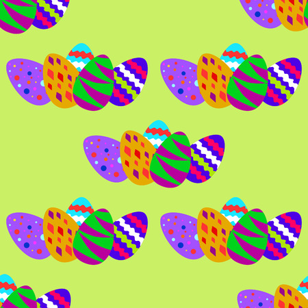 seamless pattern with colorful Easter eggs on the green background Vector