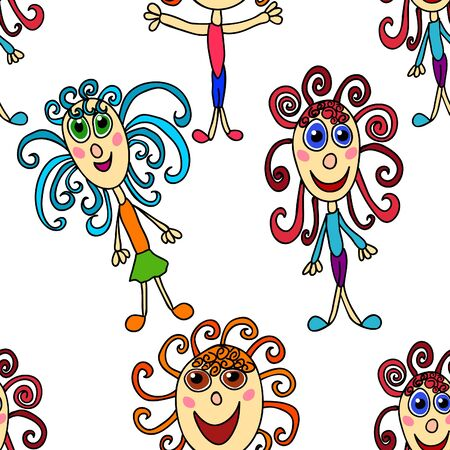 seamless pattern with curly girls on white Vector
