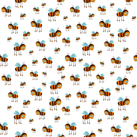 seamless pattern with flying bees on the white background 일러스트
