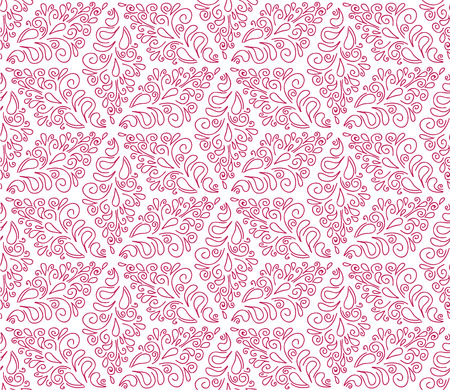 seamless pattern with pink ornaments on the white background