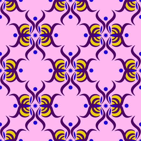 Seamless pattern with purple ornament on the pink background