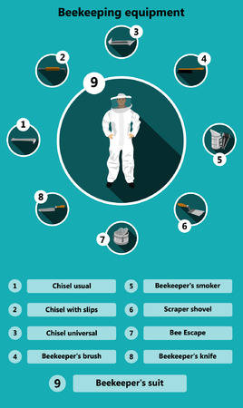 usual: Information poster containing beekeeping equipment made in a flat style